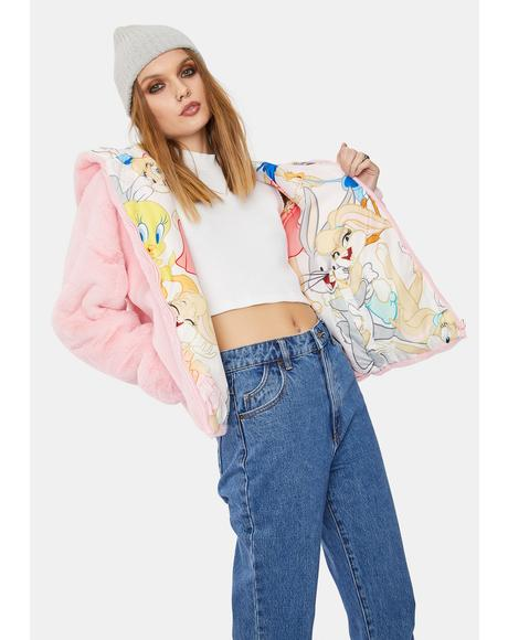 Blush Looney Toons Faux Fur Jacket