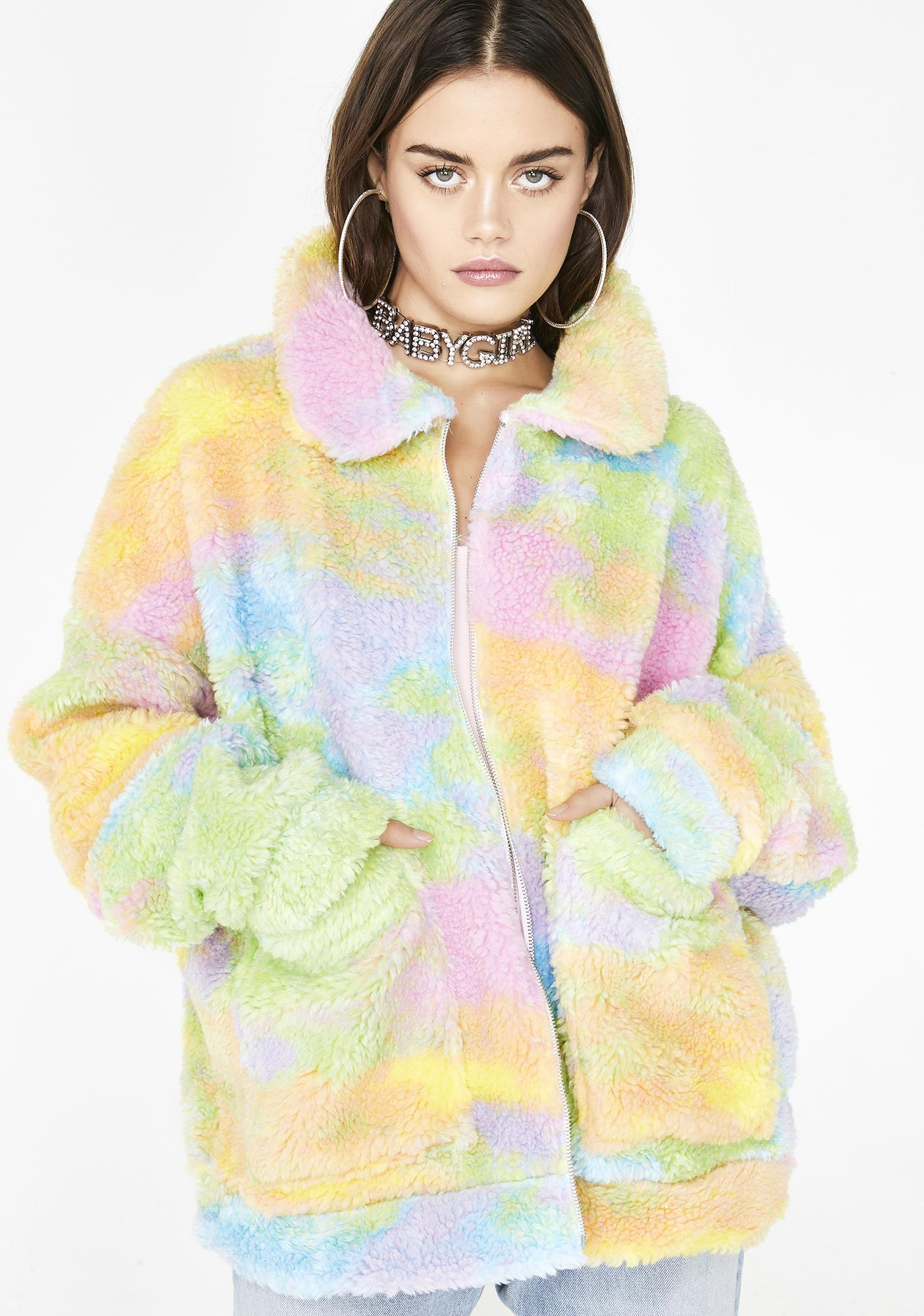 Jaded London Rainbow Fleece Jacket