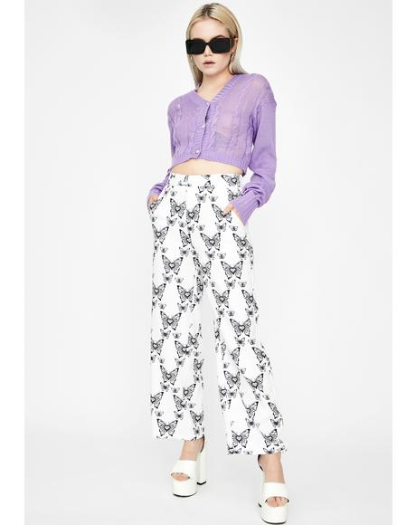 Butterfly Print Wide Pants