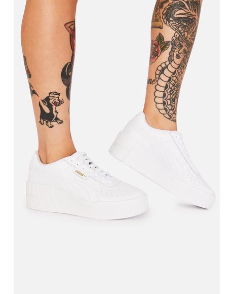 White Cali Wedge Platform Sneakers
