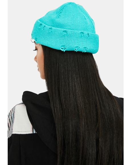 Aqua We Live Hardcore Distressed Beanie