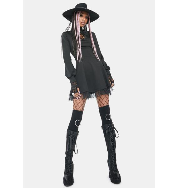 Punk Rave Keyhole Long Sleeve Mini Dress