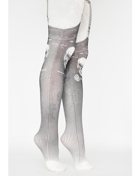 Exposed Bones Printed Tights