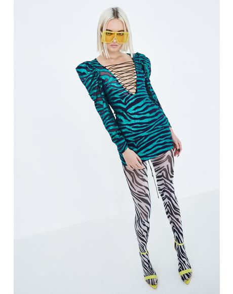 Vixen Tiger Sequin Lace-Up Dress