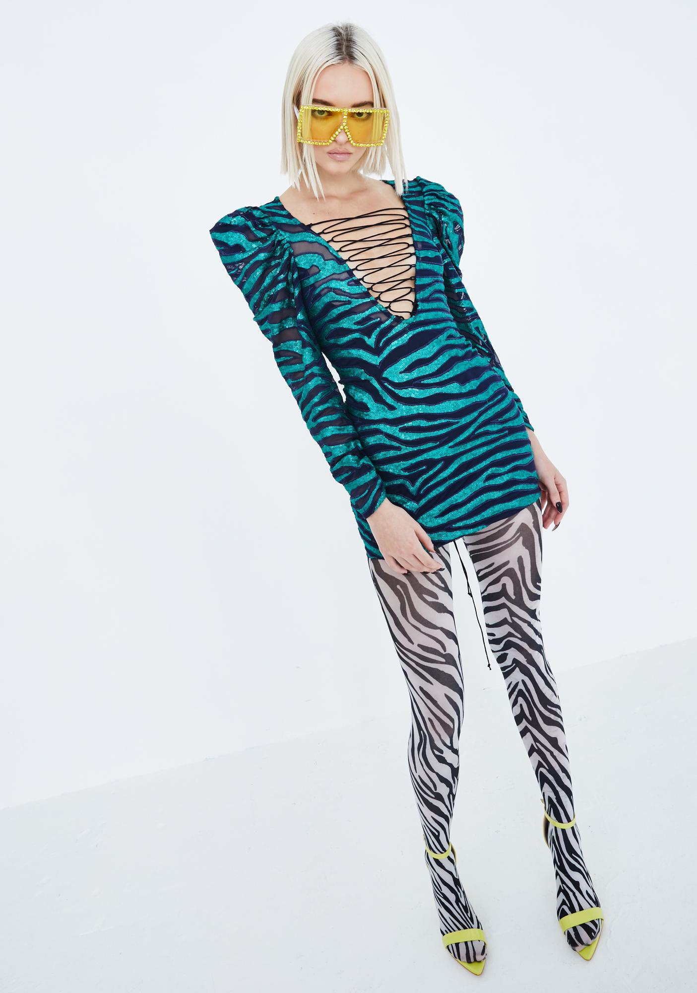 For Love & Lemons Vixen Tiger Sequin Lace-Up Dress