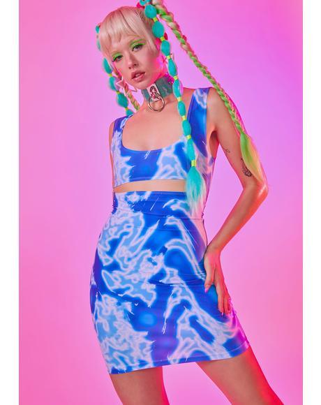 Blue Waves Mini Dress