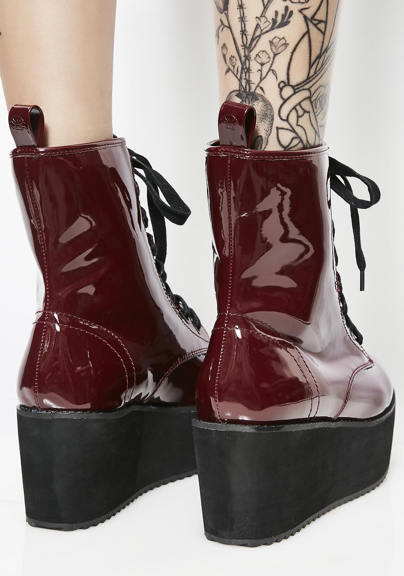 Strange Cvlt Burgundy Stomp Hi Patent Boots