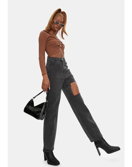 Vintage Black Damien Cut Boyfriend Jeans