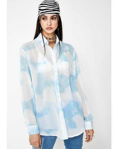 Cloud Print Chiffon Shirt Dress