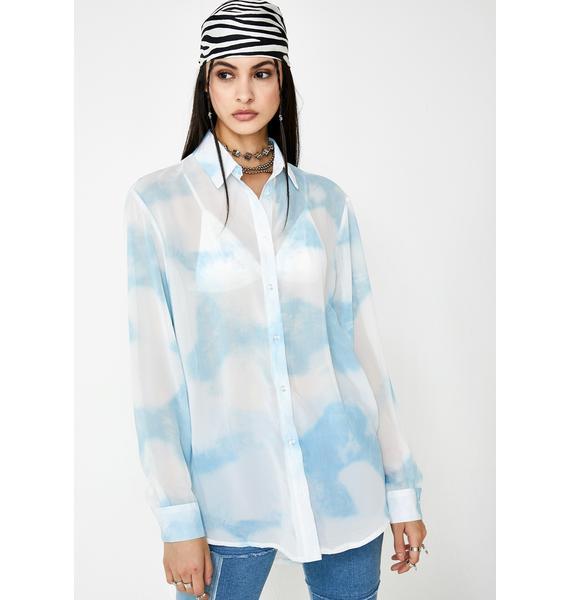 Milk It Cloud Print Chiffon Shirt Dress
