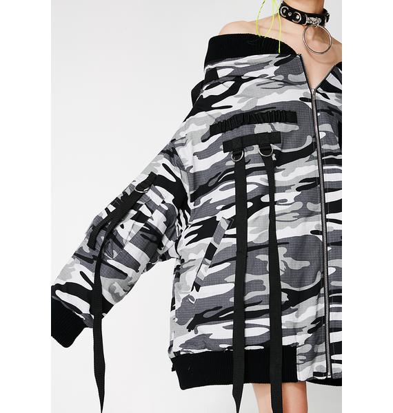 Namilia Oversized Off Shoulder Bomber Jacket