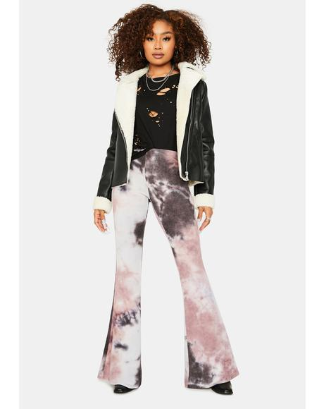 Violet Moving Up Tie Dye Flares