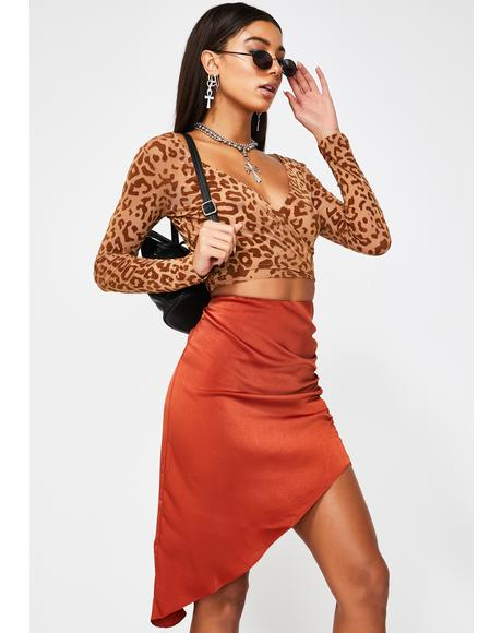 Dark Rust Ruched Midi Skirt