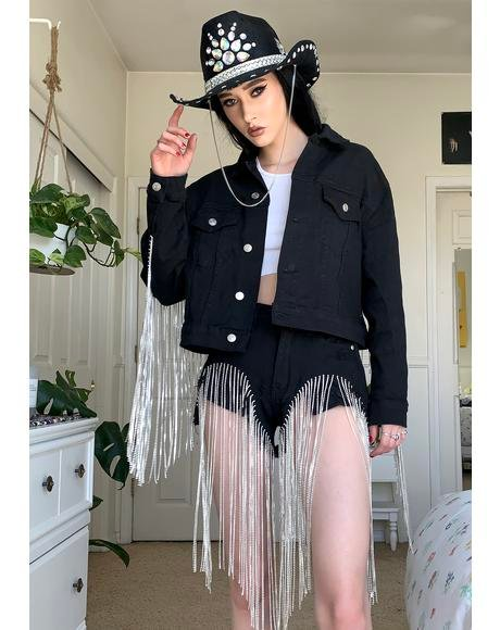 Black Dolly Fringe Denim Jacket