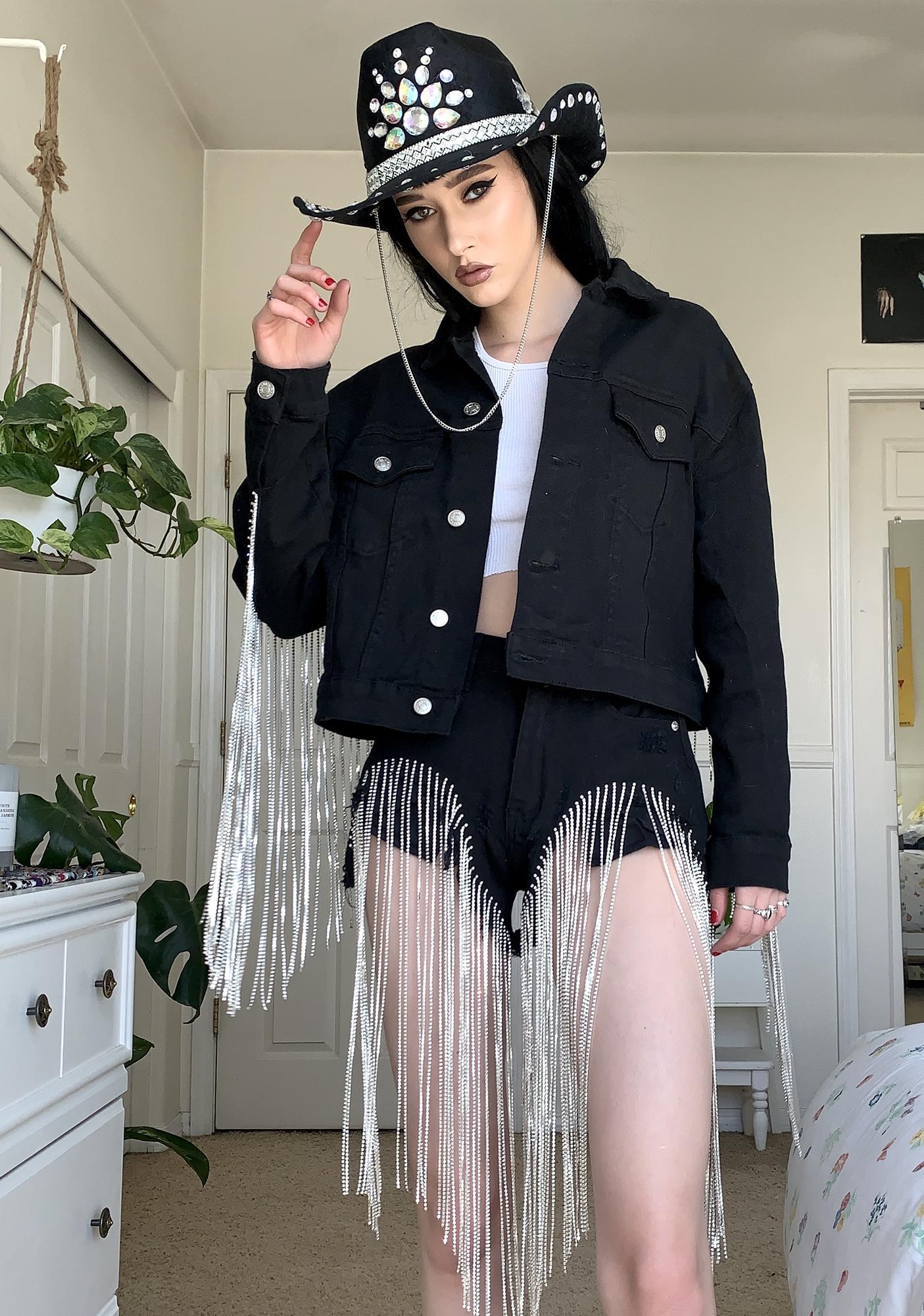 AZALEA WANG Black Dolly Fringe Denim Jacket