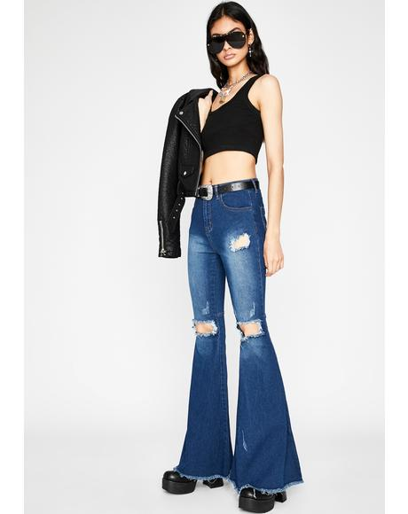 Wavy Groovin' Groupie Denim Flares