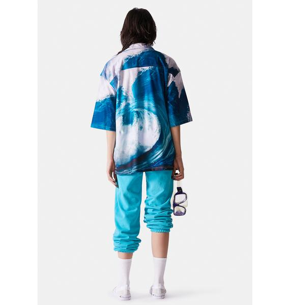Surf is Dead Waves Vacation Button Up Tee