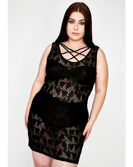 Plus Tied Up In Lace Mini Dress