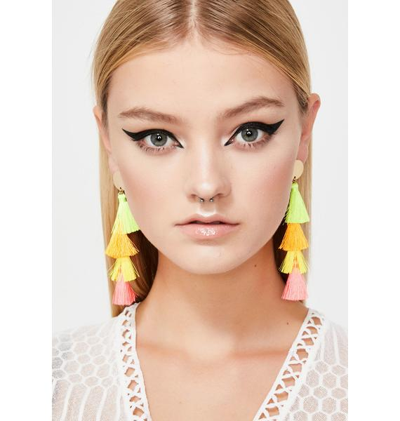 Neon Desert Tassel Earrings