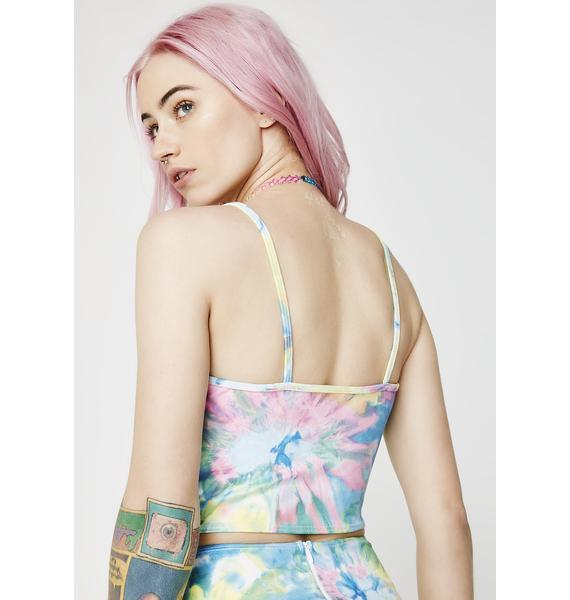 J Valentine Tie- Dye Faux Suede Lace-Up Tank