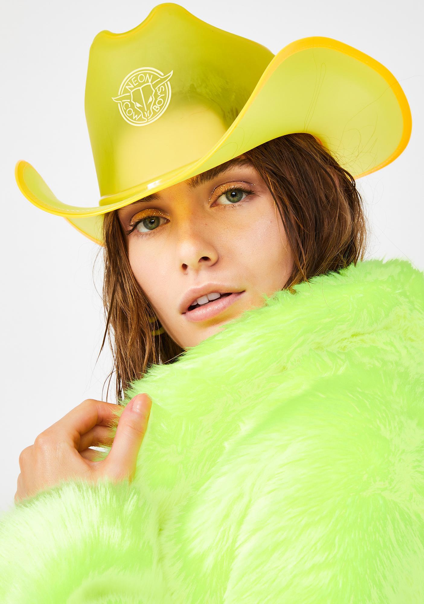 Neon Cowboys Spark Yellow Light Up Cowboy Hat