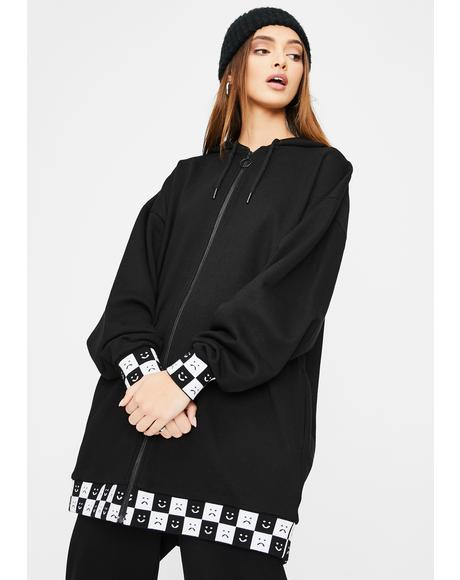 Happy Slouchy Check Print Hoodie