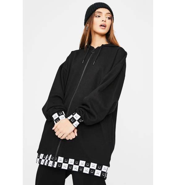 Lazy Oaf Happy Slouchy Check Print Hoodie