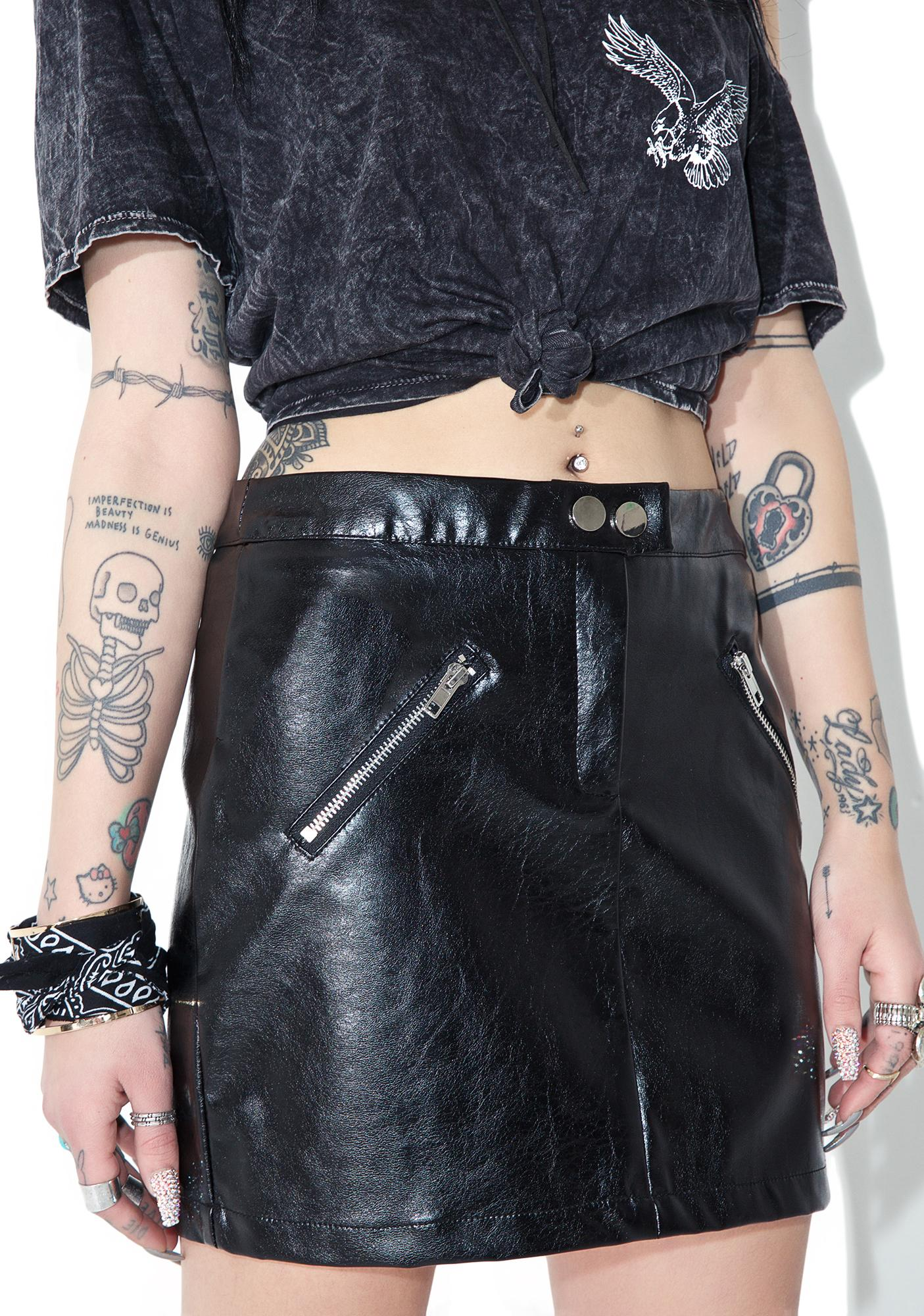 36fec60e85 Black Faux Leather Zipper Punk Mini Skirt | Dolls Kill