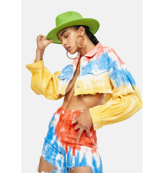 Love And Laughter Tie Dye Crop Jacket
