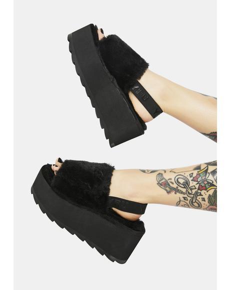 Qozii Faux Fur Platform Slides