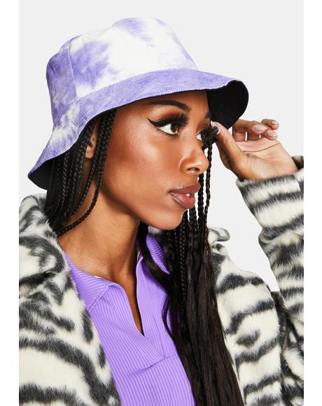 Lilac Back In The Groove Reversible Tie Dye Bucket Hat