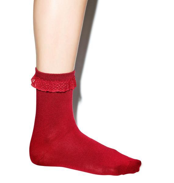 Struck By Cupid Ruffle Ankle Socks