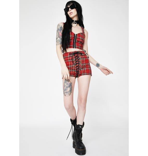 Tripp NYC Red Plaid High Waist Corset Shorts