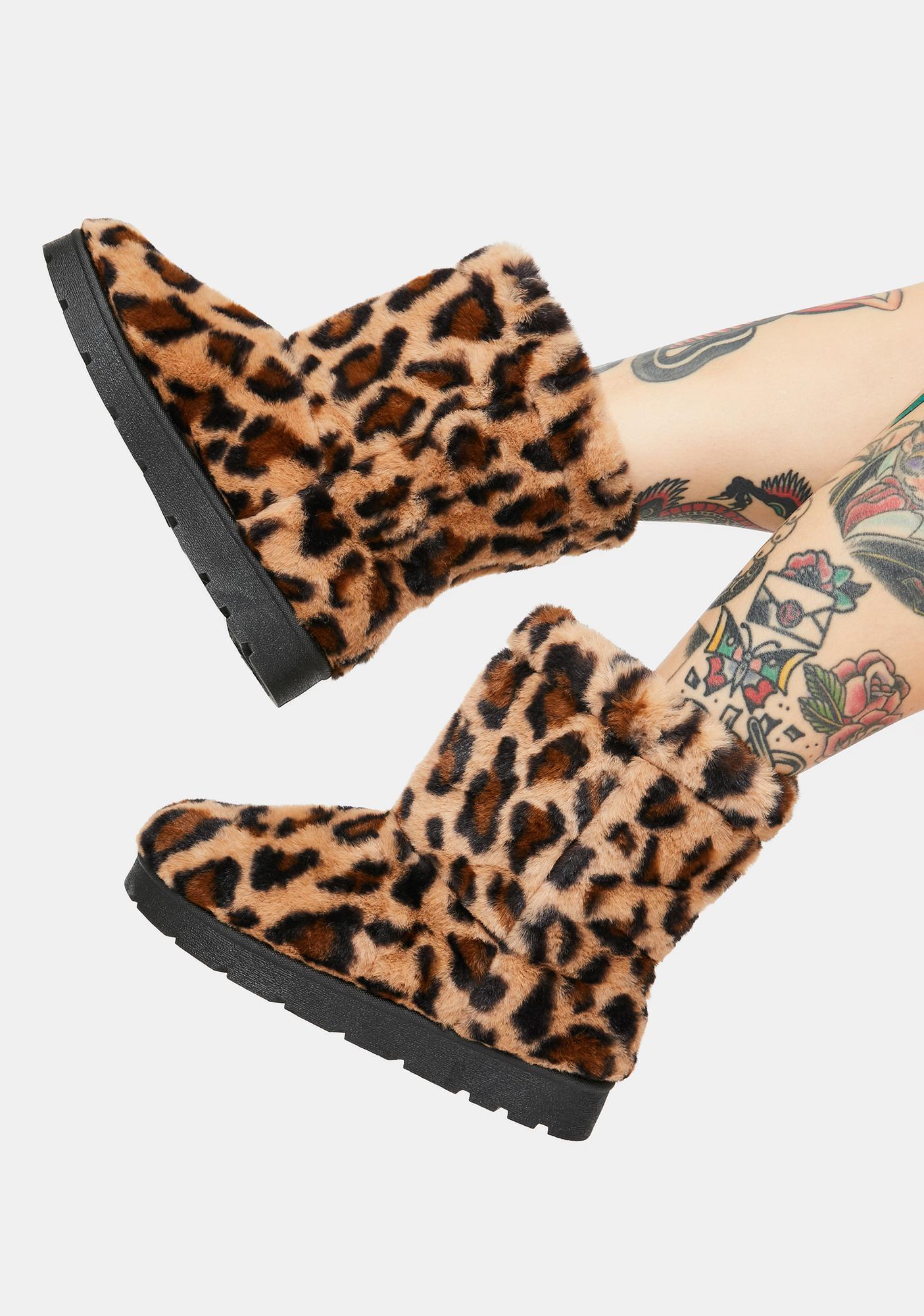 Leopard Don't Bother Me Faux Fur Boots