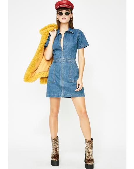 Berry Spend Sum Denim Dress
