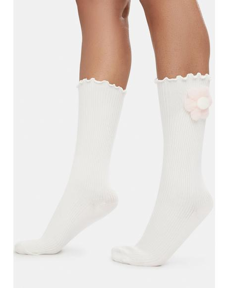 Sweet Power Of The Petal Plush Flower Crew Socks