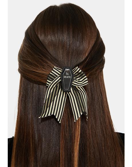 Till Death Bow Hair Clip
