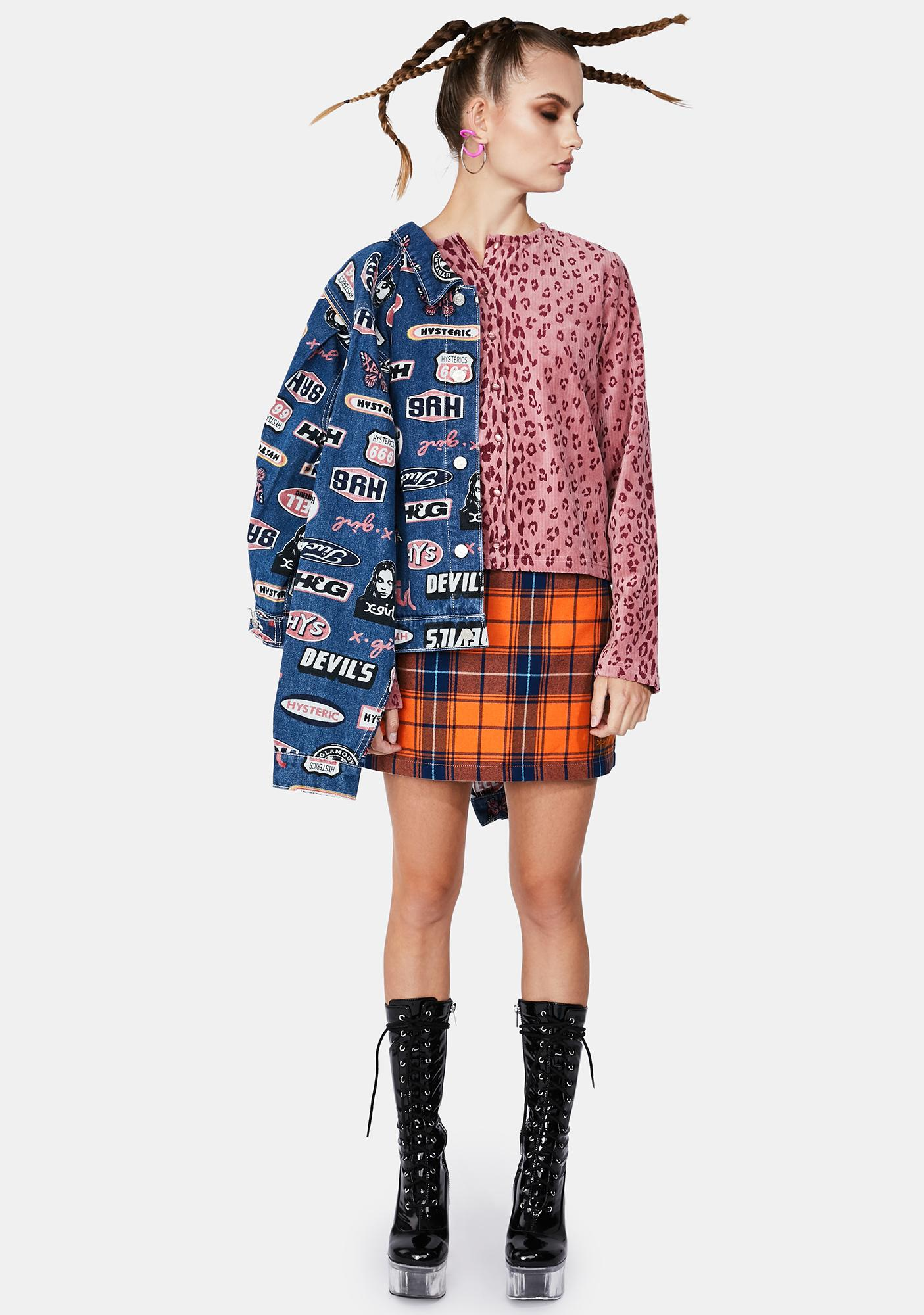 x-Girl Orange Plaid Mini Skirt