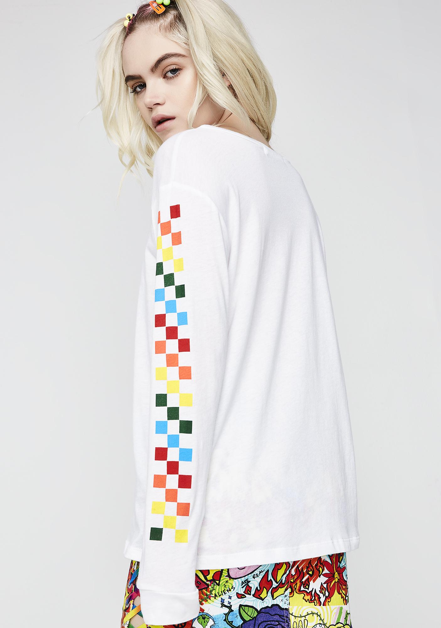 Rainbow Think Fast Checkered Top