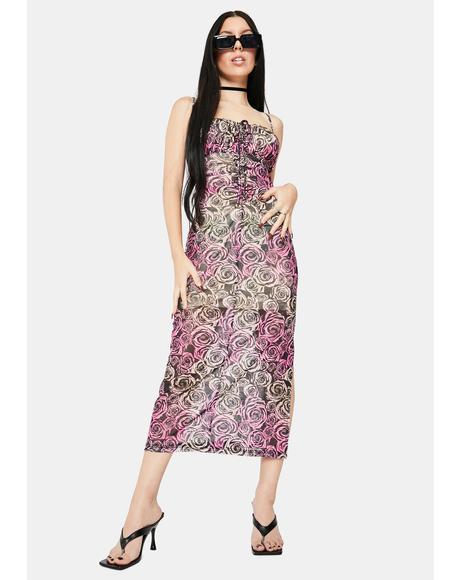 Sabine Mesh Midi Dress
