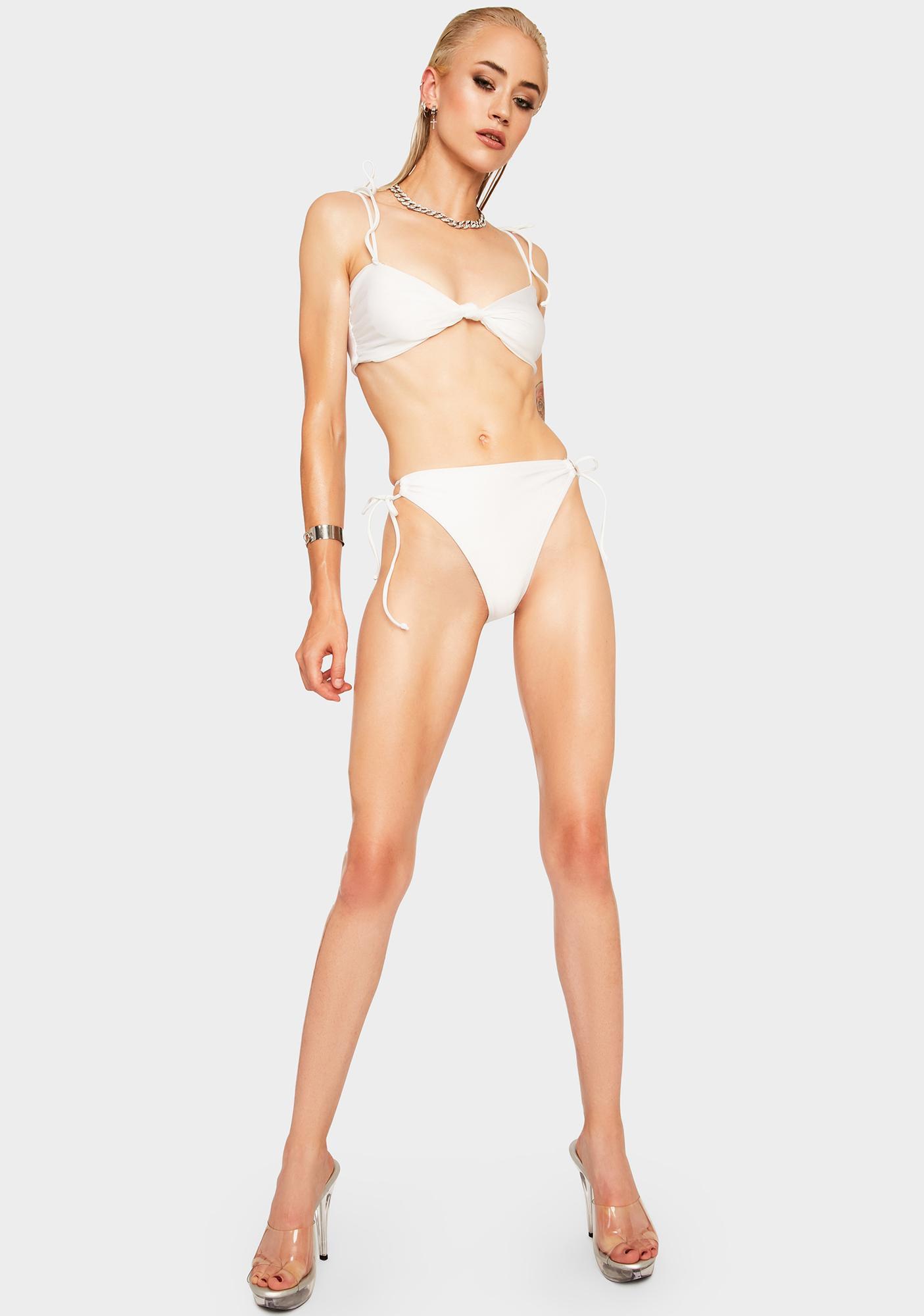 RIS-K White Whimsical Bikini Bottoms