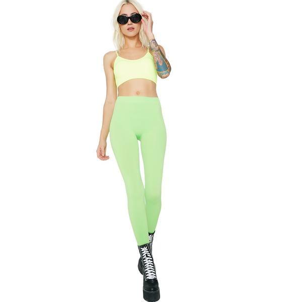 Lime So Electric Crop Bra Top
