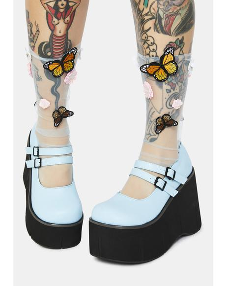 Light Blue Dollhaus Platform Mary Janes