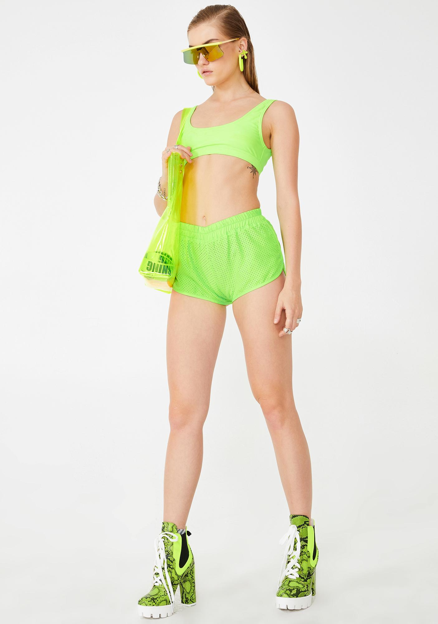 Rojas Slime Perforated Dolphin Shorts