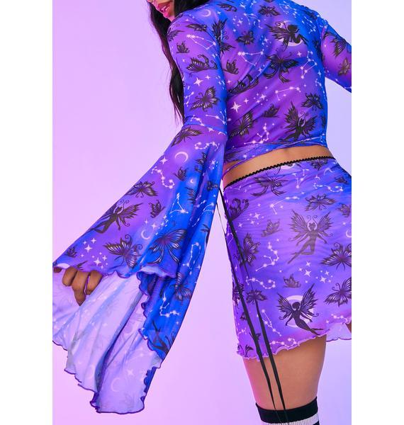 HOROSCOPEZ Heighten Senses Goth Fairy Mesh Bell Sleeve Top