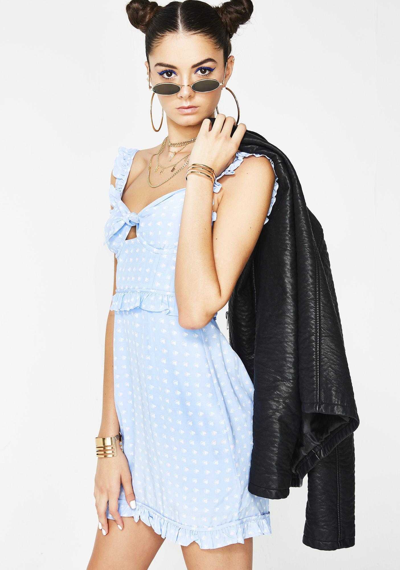For Love & Lemons Sky Sweetheart Mini Dress