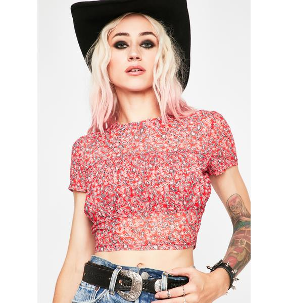 Twiin Floral Mesh Crop Top