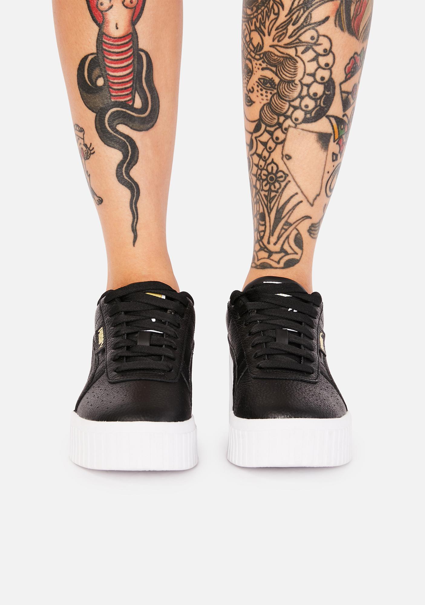 PUMA Black Cali Wedge Platform Sneakers