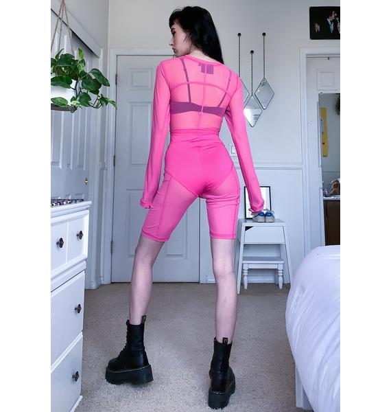 Criminal Damage Pink Mesh Exposed Stitch Crop Top