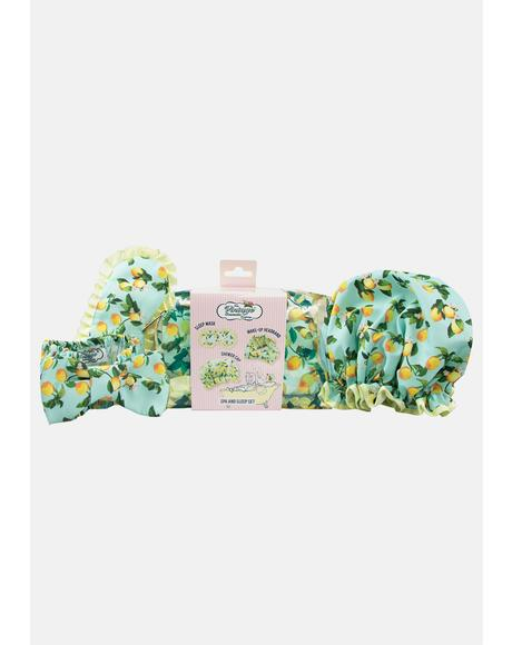 Lemon Print Spa And Sleep Set